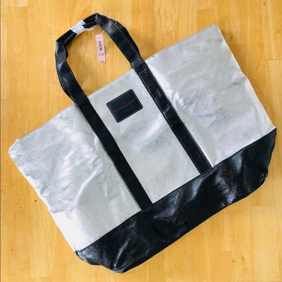 7870a569c Victoria's Secret Bags | Nwtvictorias Secret Large Silver Black Tote ...